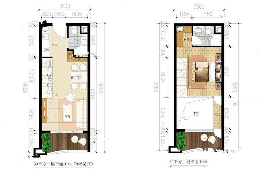 39一户型 1室2厅2卫 建筑面积:39㎡