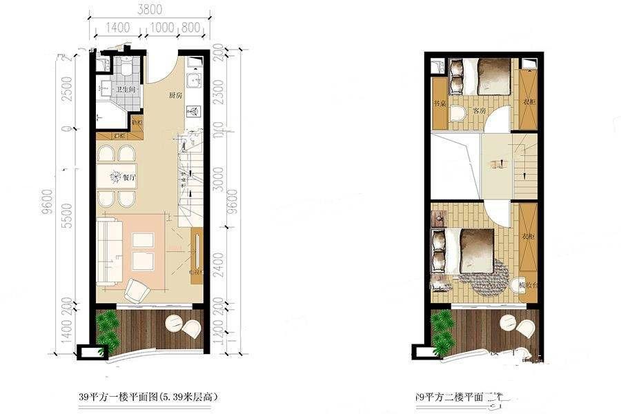39二户型 2室2厅2卫 建筑面积:39㎡