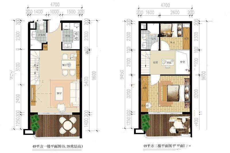 49户型 3室2厅2卫 建筑面积:49㎡