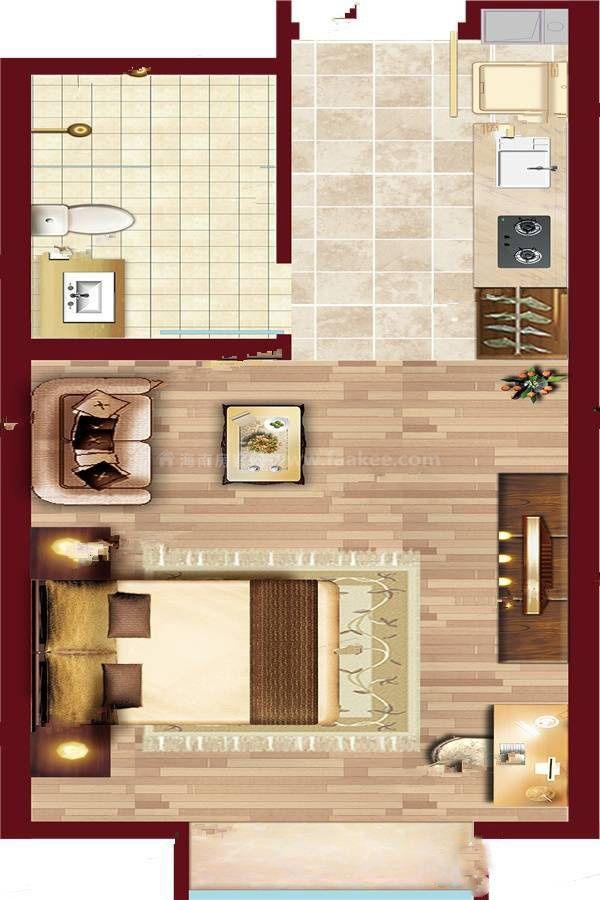 A6户型渲染 (1) 1室1厅1卫 建筑面积:50㎡