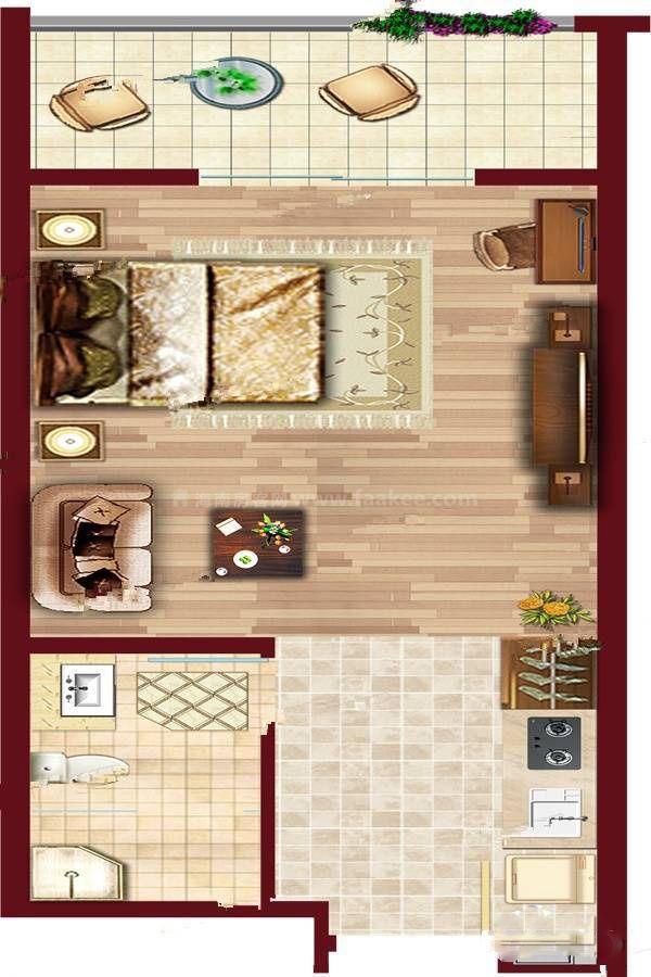 A6户型渲染 (3) 1室1厅1卫 建筑面积:50㎡