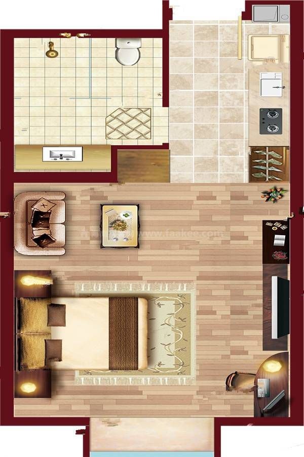 A6户型渲染 (4) 1室1厅1卫 建筑面积:50㎡