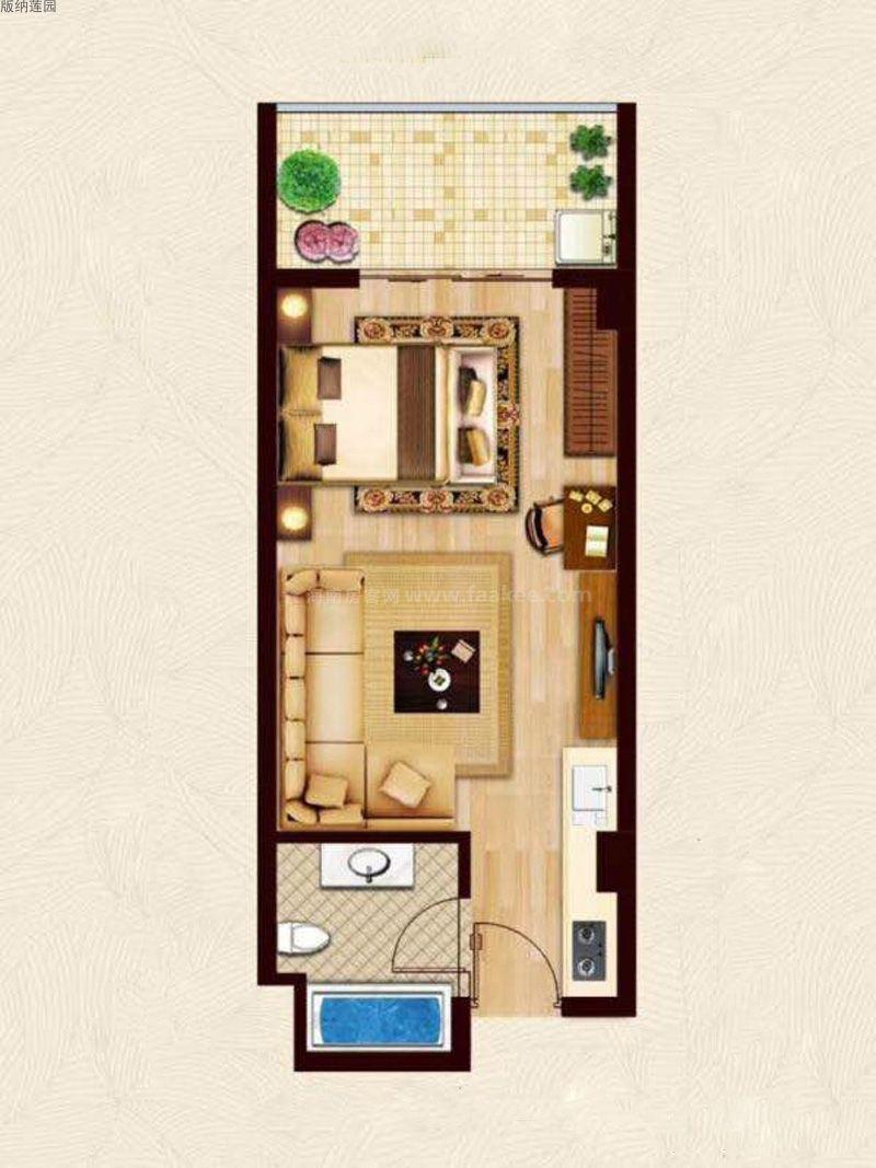 版纳莲园 1室1厅1卫1厨  建筑面积:45㎡