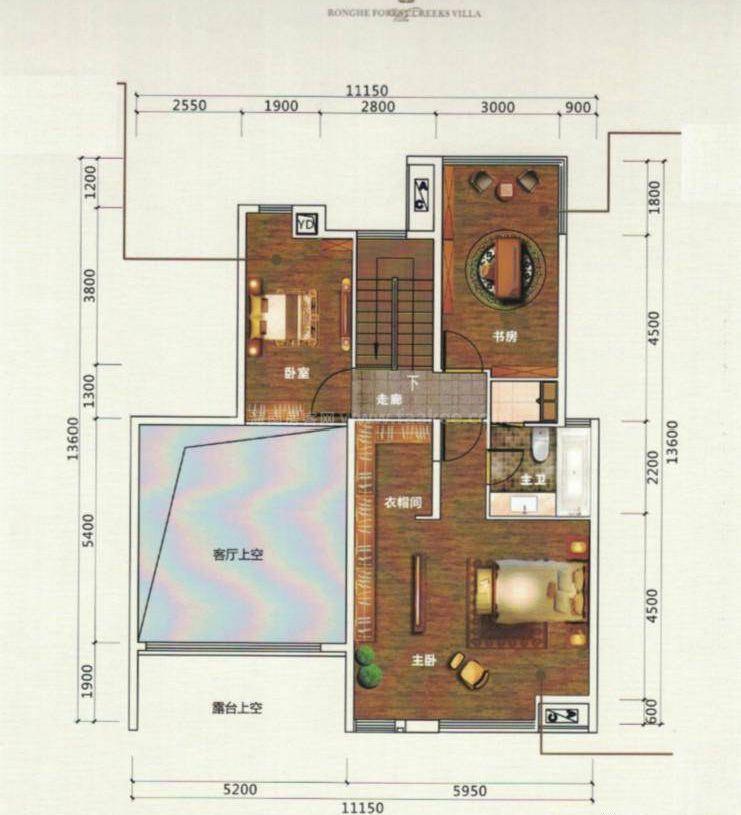 2室2厅2卫 建筑面积:210平米