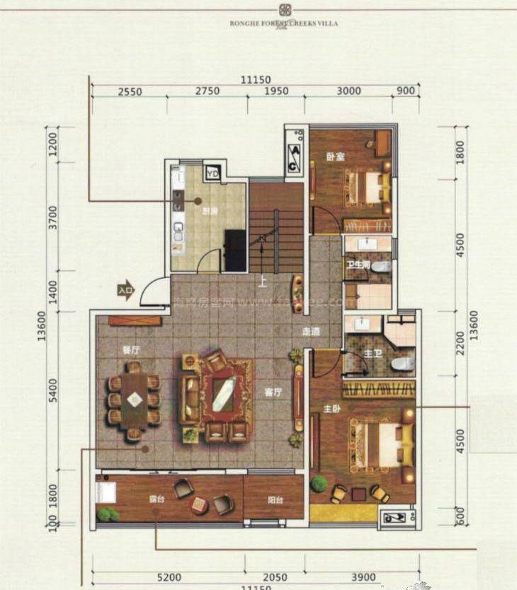B1-1复式户型下层 2室2厅2卫 建筑面积:120平米