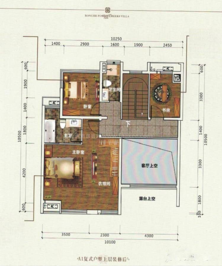 A1-2复式户型 上层 3室2厅2卫 建筑面积:77平米