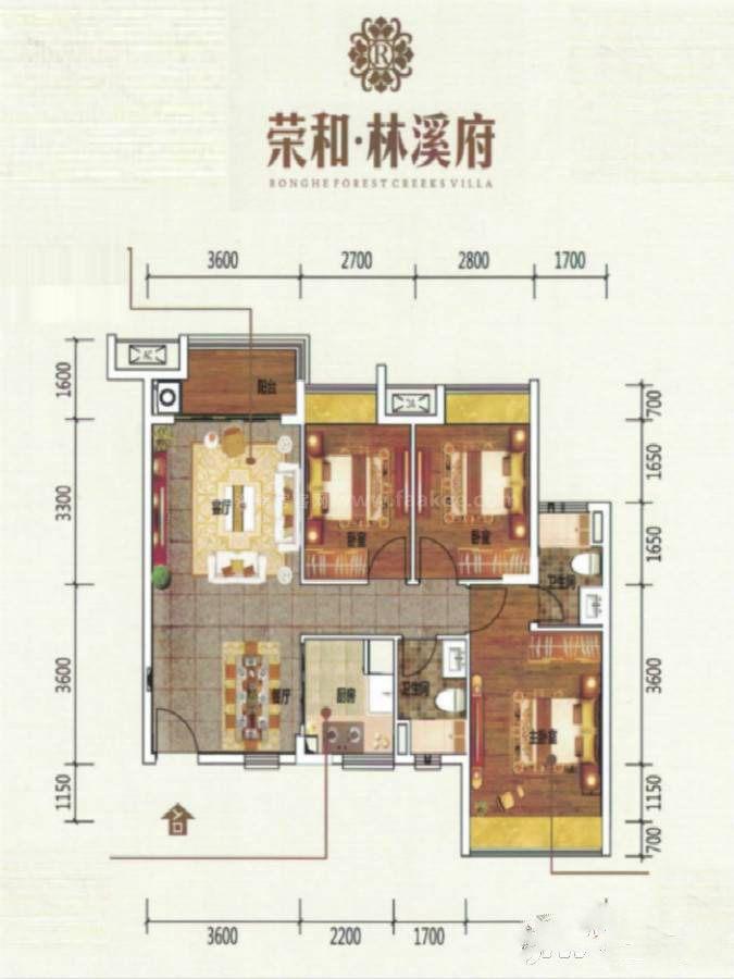 B户型 3室2厅2卫 建筑面积:90平米