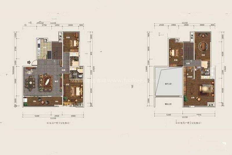 B1-2复式户型 4室3厅3卫 建筑面积:218平米