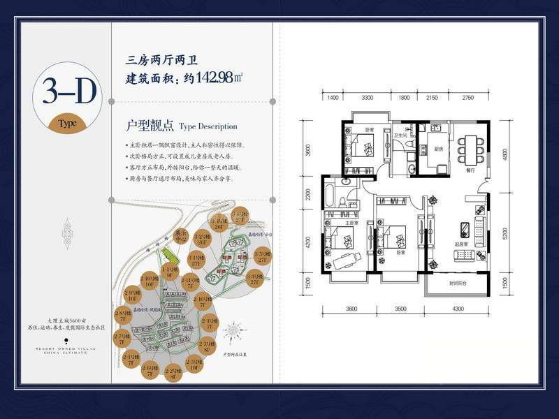 3-D户型 3室2厅2卫 建筑面积:143㎡