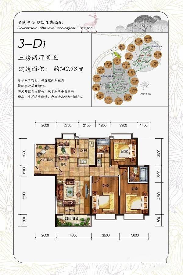 一期云台(高层)3-D1户型 3室2厅2卫 建筑面积:143㎡