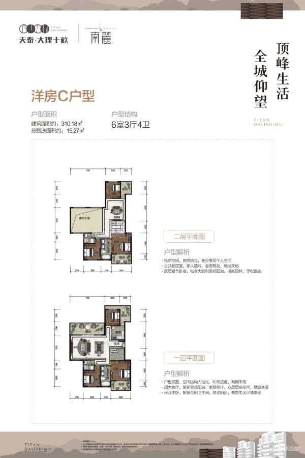 南麓二期洋房C户型 6室3厅4卫 建筑面积:310㎡
