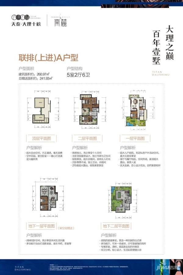 南麓二期联排(上进)A户型 5室2厅6卫 建筑面积:261㎡