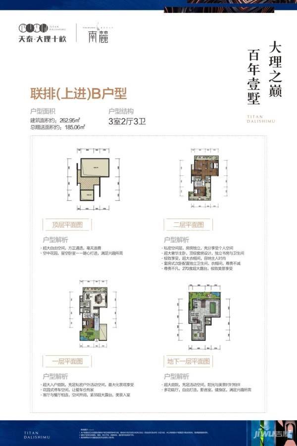 南麓二期联排(上进)B户型 3室2厅3卫 建筑面积:263㎡