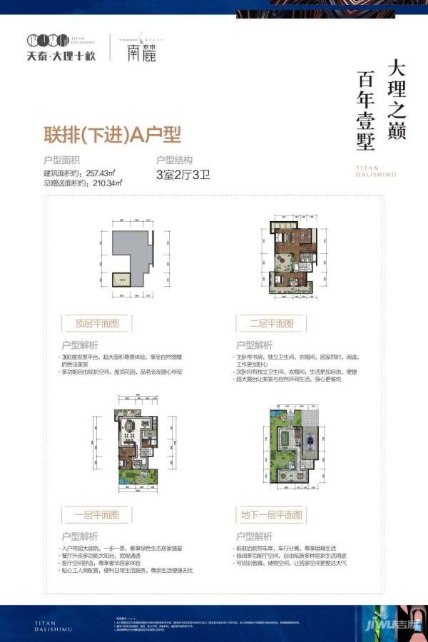 南麓二期联排(下进)A户型 3室2厅2卫 建筑面积:257㎡