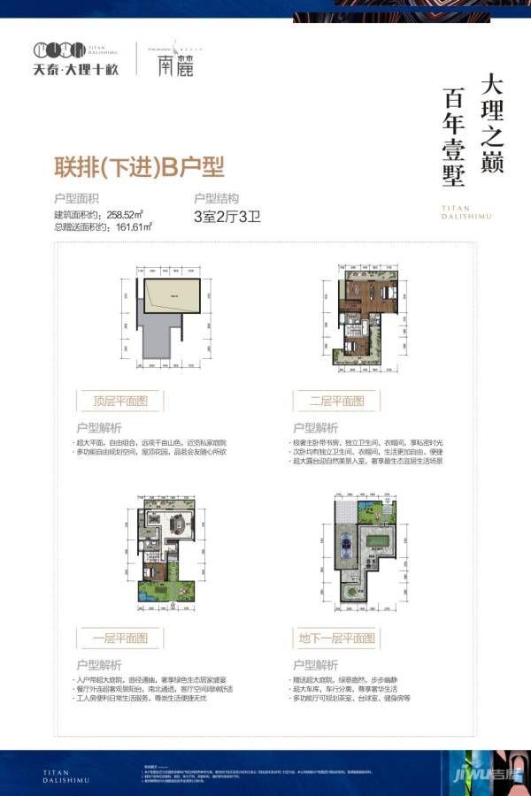 南麓二期联排(下进)B户型 3室2厅3卫 建筑面积:259㎡