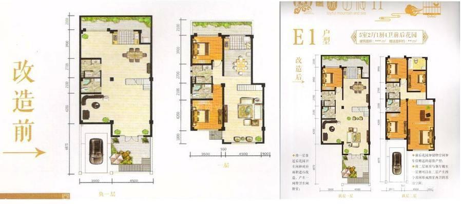 E1户型 5室2厅1厨4卫前后花园 赠送花园 建筑面积:218㎡