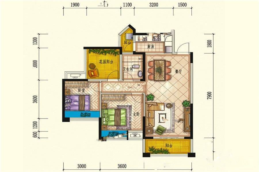 5#E户型 2室2厅1卫 建筑面积:94平米