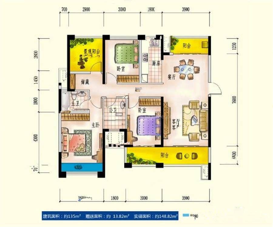 7#A2户型 3室2厅2卫 建筑面积:135平米