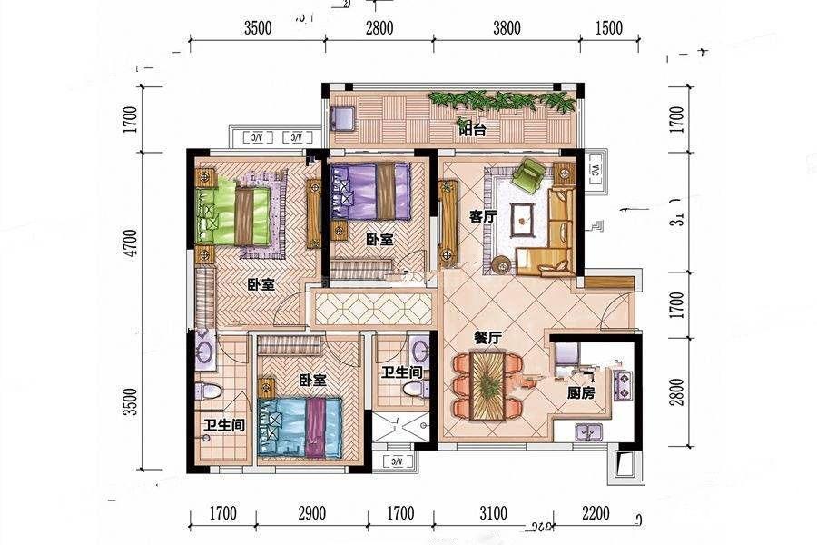 F5-A户型 3室2厅2卫 建筑面积:96平米