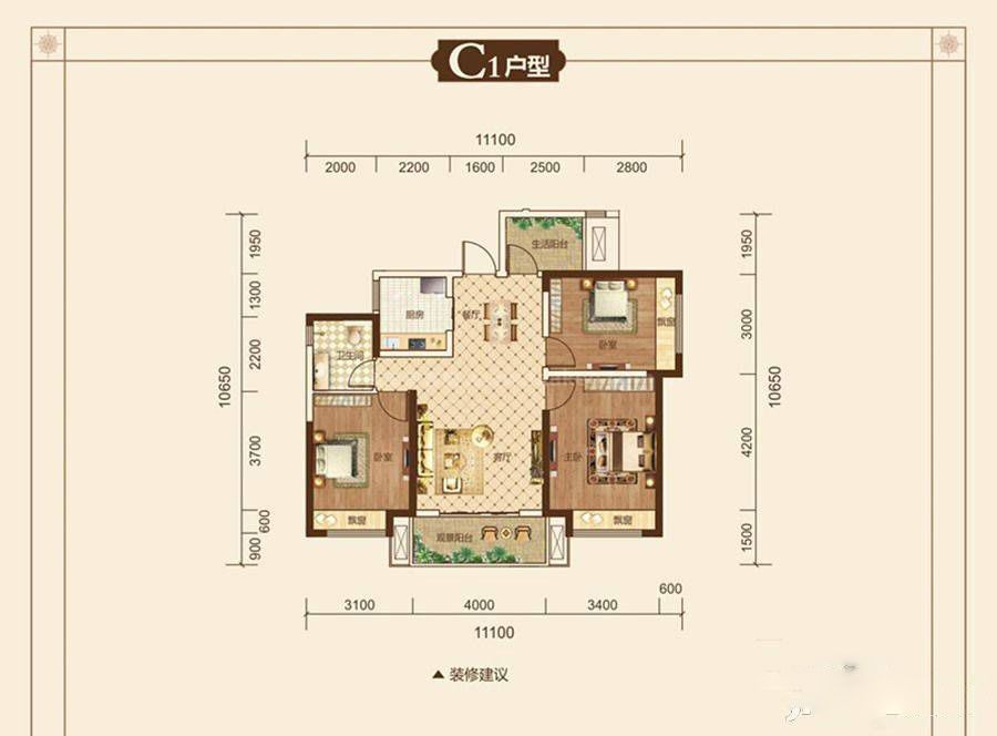 C1户型 3室2厅1卫 建筑面积:89平米