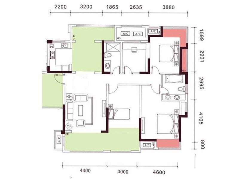 7-8栋03户型, 4室2厅2卫1厨, 建筑面积约152.00平米