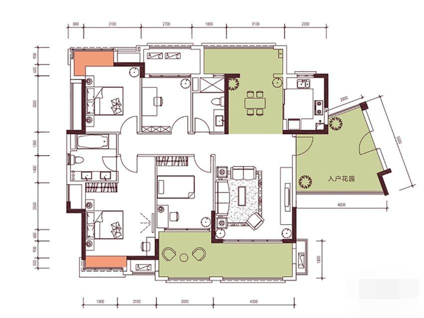 9栋152㎡户型, 4室2厅2卫1厨, 建筑面积约151.87平米