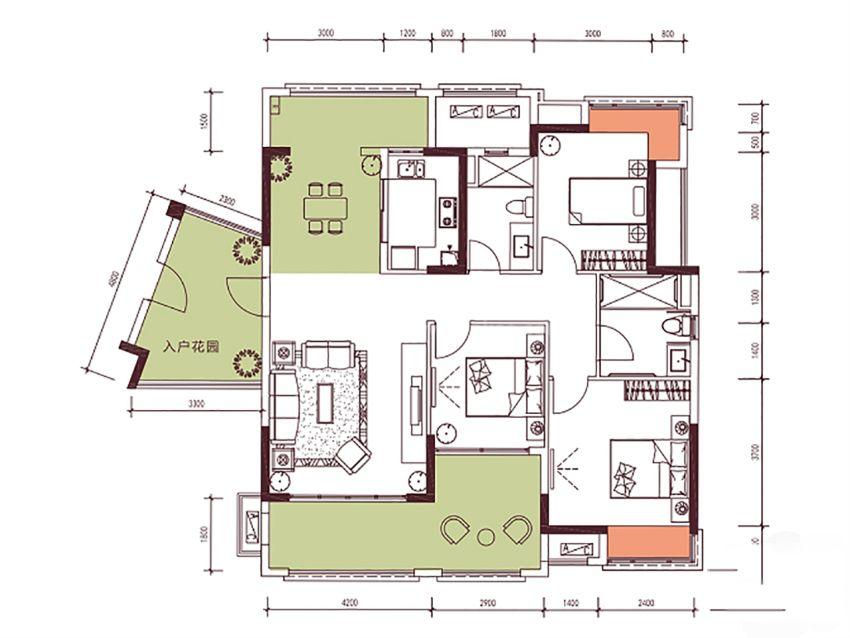 9栋130㎡户型, 3室2厅2卫1厨, 建筑面积约130.47平米