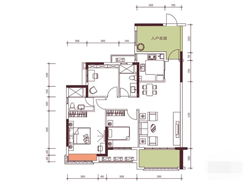 9栋113㎡户型, 3室2厅2卫1厨, 建筑面积约112.88平米