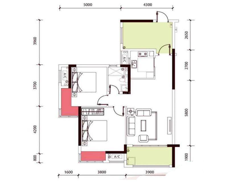 10栋B户型, 2室2厅1卫1厨, 建筑面积约91.00平米