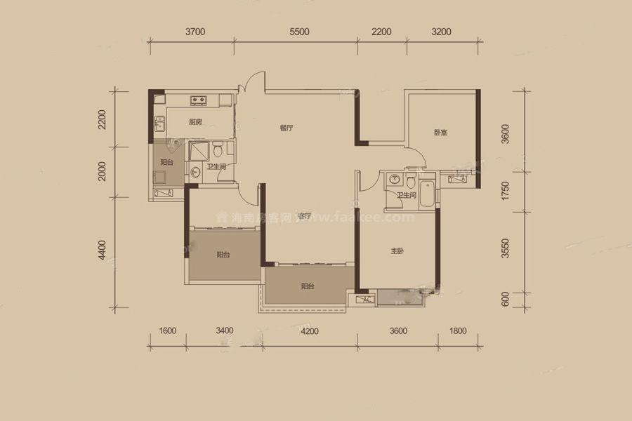 13栋D户型 2室2厅2卫1厨 建筑面积:126㎡