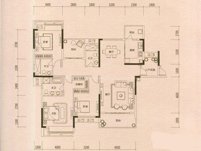 1-4栋、15-8栋F户型 4室2厅3卫1厨 建筑面积:168㎡
