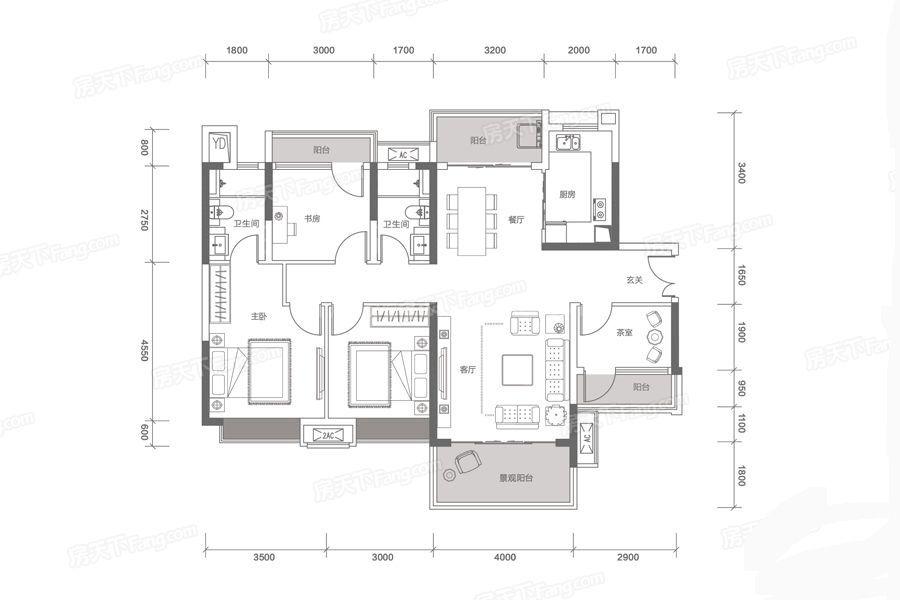 03户型 4室2厅2卫1厨 建筑面积:127㎡