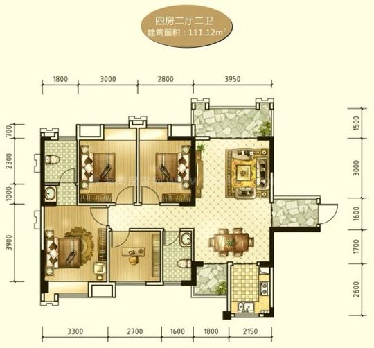 4房2厅2卫 建面111.12平米