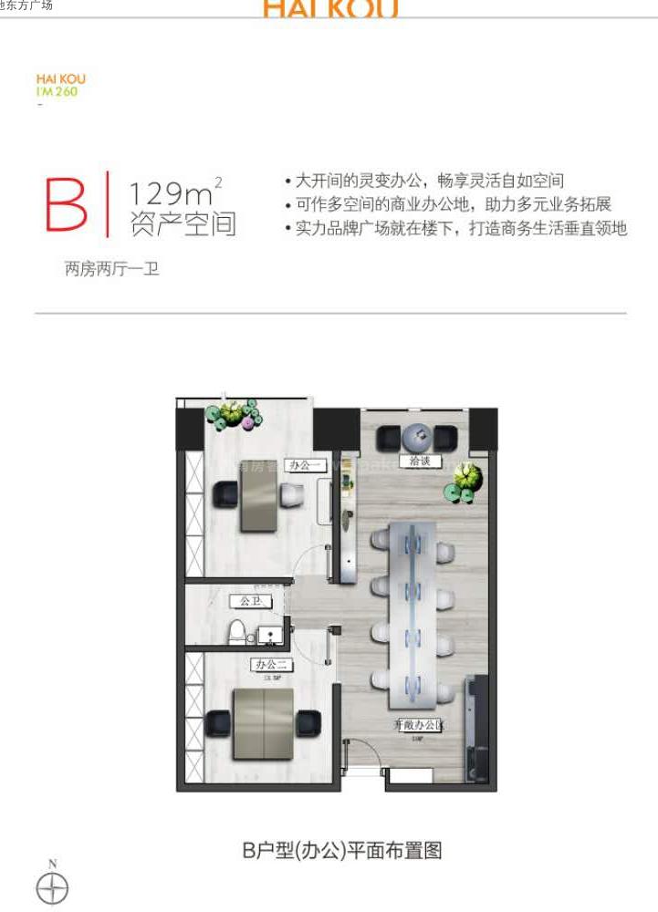 B户型图(办公) 2室2厅1卫  建筑面积129㎡