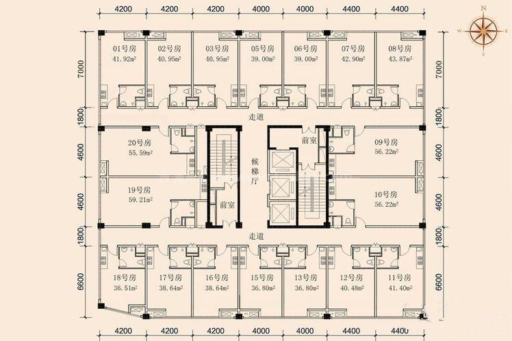 单间 建筑面积:36.51-59.21㎡