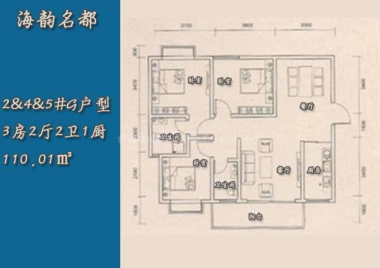 2号4号5号G户型 3室2厅2卫 建筑面积:110㎡