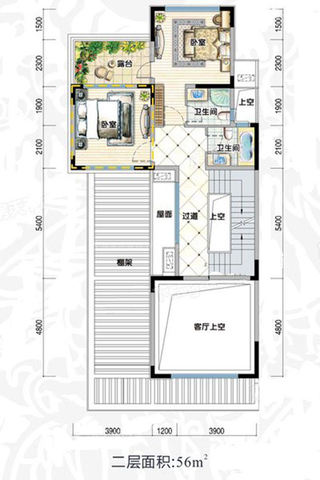 双拼D4阔景户型 5室2厅5卫1厨 建面353㎡ 二层