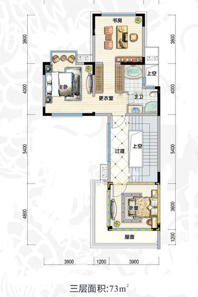 双拼D4阔景户型 5室2厅5卫1厨 建面353㎡ 三层