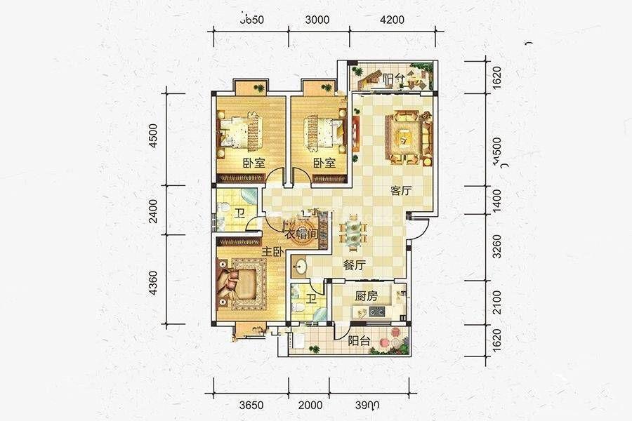 A户型 3室2厅2卫 建筑面积:139平米