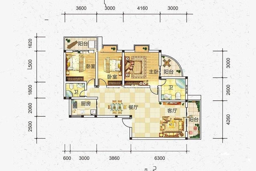 B户型 3室2厅2卫 建筑面积:130平米