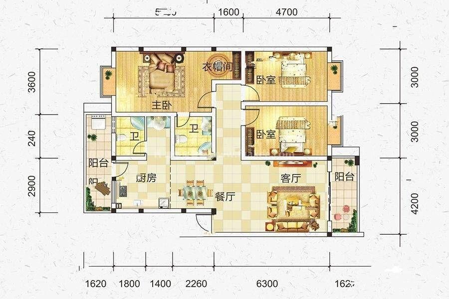 C户型 3室2厅2卫 建筑面积:136平米