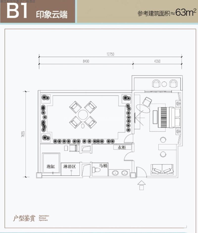 B1户型 1室  建筑面积63㎡