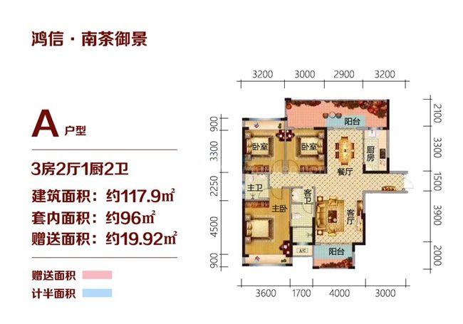 A户型 3房2厅1厨2卫 117.9㎡
