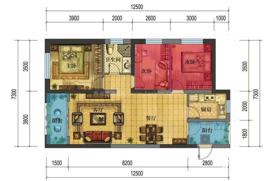A2户型 3室2厅1卫 建面:78.7㎡