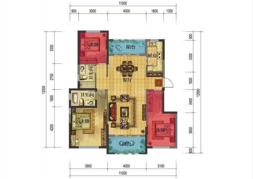 C户型 3室2厅2卫 建面:99.4㎡