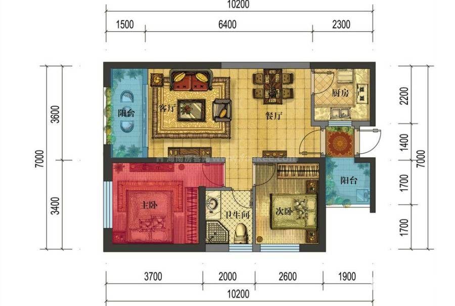 A1户型 2室2厅1卫 建面:60.4㎡
