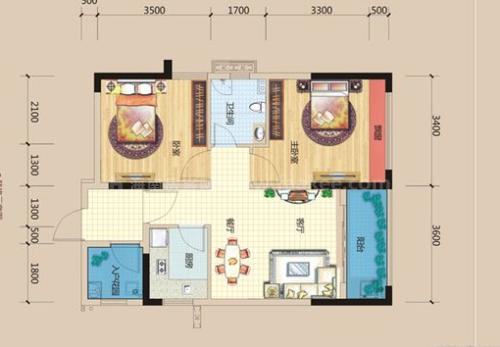 2室1厅1卫0厨, 建筑面积约71.67平米