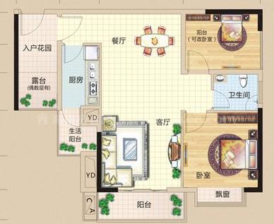 6#27#28#户型, 2室2厅1卫0厨, 建筑面积约76.54平米