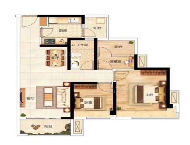 2、3、4栋F户型 2室2厅1卫1厨 建面89.18㎡