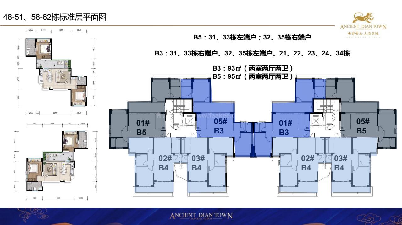 48-51、58-62栋标准层平面图 B3B5户型 2室2厅2卫 建面93-95㎡